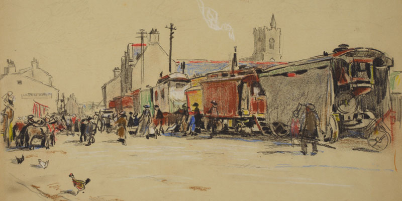 Pastel drawing of a street scene with colourful wagons