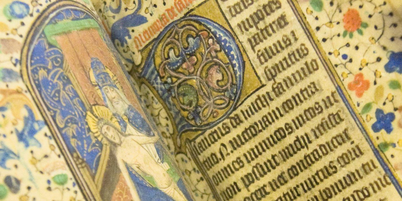 A close up image of an illuminated manuscript from Special Collections