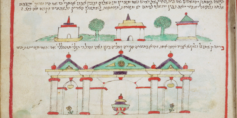Illustration from illustrated account of the Holy Places in Palestine, written in Casale Monferrato, 1598.  MS ROTH/220