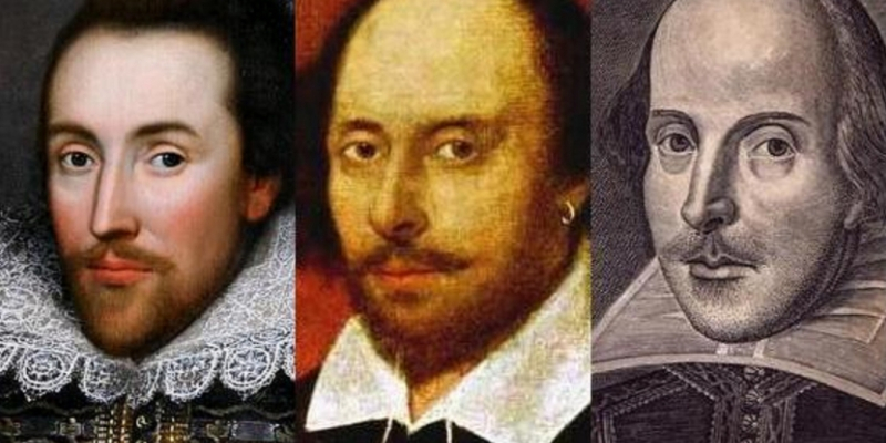 A triptych depicting three different portraits of William Shakespeare