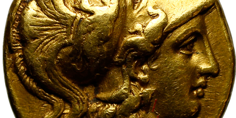 Close up of a gold coin detail