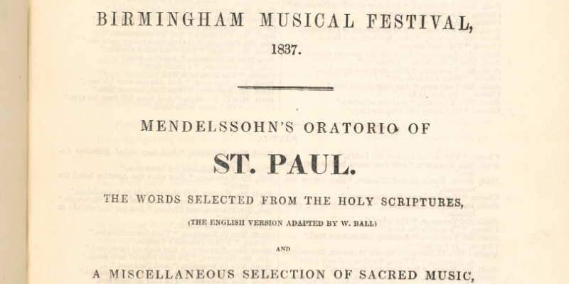 A cropped section of a programme from the Birmingham Festival programme of 1837.