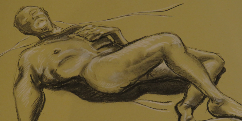 A reclining figure drawn during a Life Drawing session