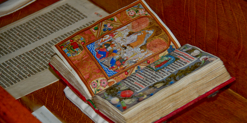Small medieval book on display