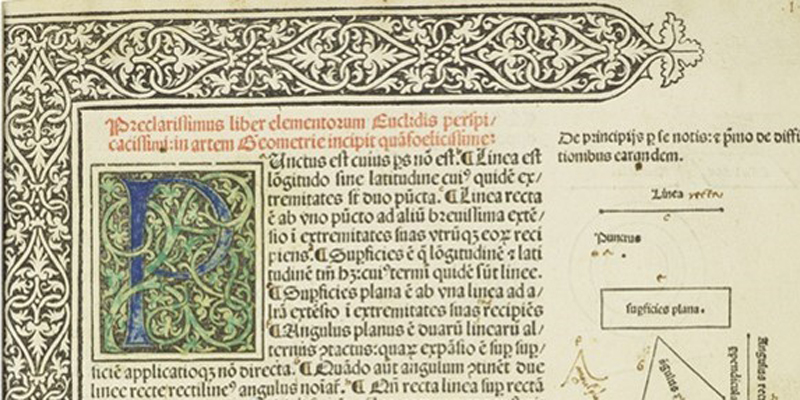 Crop taken from a book by Euclid showing decorative text and geometric diagrams