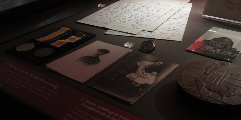 Exhibition case of photographs, letters and medals relating to a WWI soldier
