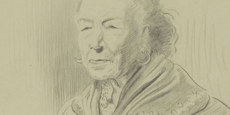 Portrait of a figure wearing a shawl drawn in pencil