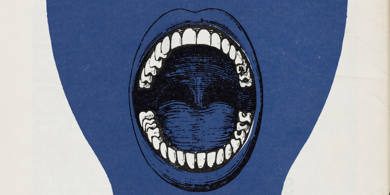 A cropped blue head with a wide open mouth. Image from the cover of 'Anarchy' Magazine, 1960s