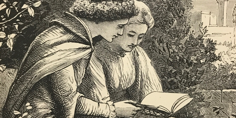 Illustration of a couple sat on a bench reading a book together in period clothing.