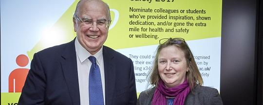 Customer Services Manager Beth Parry and Vice-Chancellor Alan Langlands at Health and Safety Awards