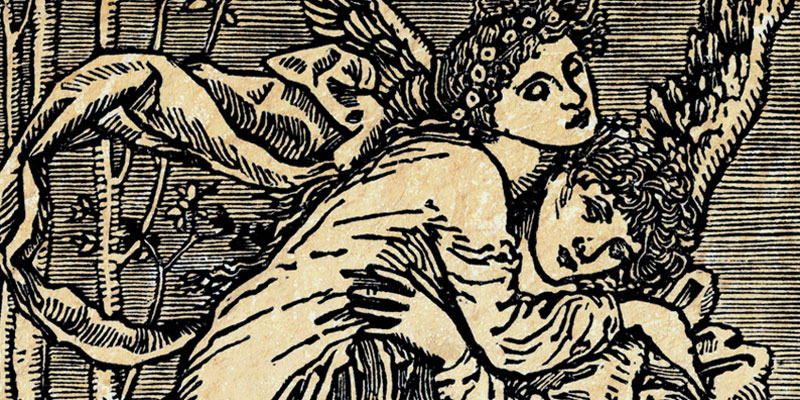 A close crop of a woodcut illustration showing Cupid and Psyche in an embrace