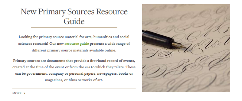 Publicity for new online primary sources resource, explaining what primary sources are