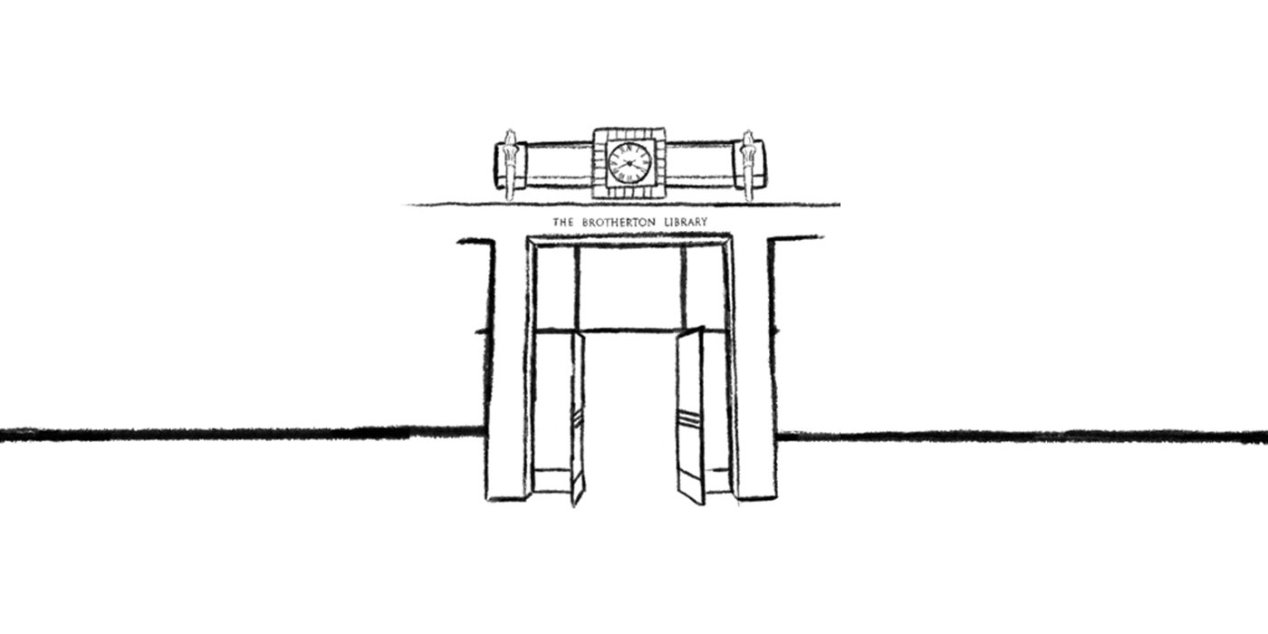 Line drawing of the Brotherton Library entrance