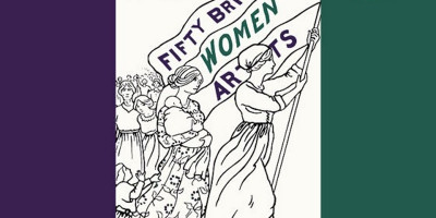 Graphic showing women flying a flag for art