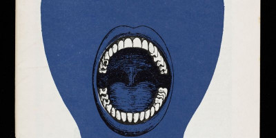 A blue face with an open mouth and visible teeth. Front cover from 'Anarchy' magazine 1961-1970