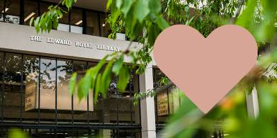 A heart floating near the entrance to the Edward Boyle Library.