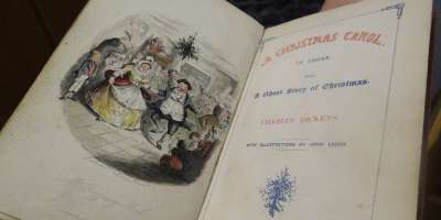 First issue of the first edition of Charles Dickens 'A Christmas Carol' published by Chapman & Hall in 1843. Image credit Leeds University Library Galleries.