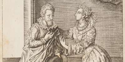 Illustration of a man talking to a Venetian courtesan from the book 'Coryat's Crudities' by Thomas Coryat.