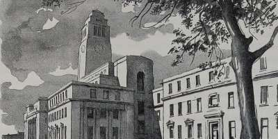 A black and white sketch of the iconic Parkinson Building clock tower by artist Maurice De Sausmarez
