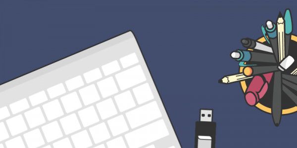 A graphic illustration of a keyboard and USB drive next to a a desk tidy full of pens.