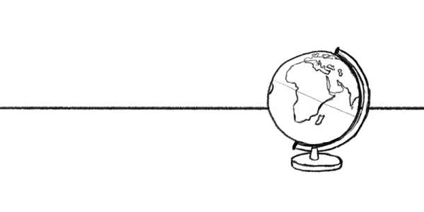 Line drawing of a globe with Africa facing
