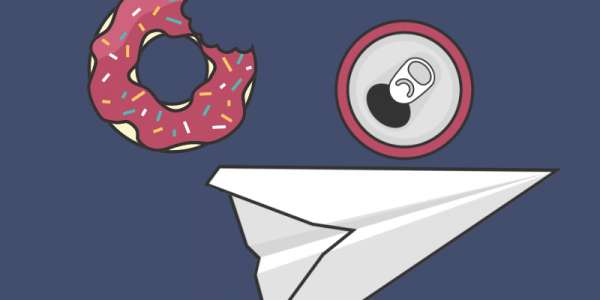 A graphic illustration of a paper aeroplane, a drinks can and a donut.