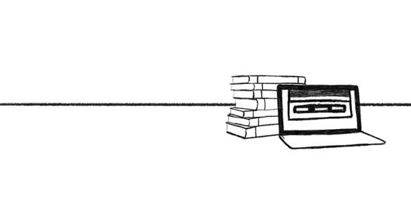 Line drawing of an open laptop in front of a pile of books