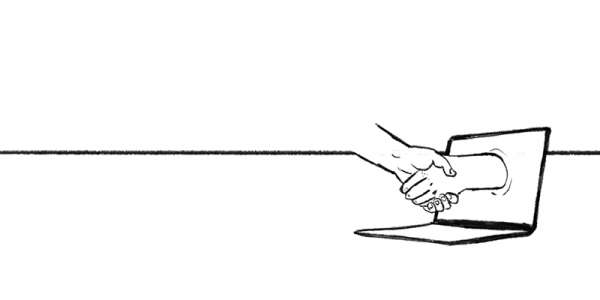 Line drawing of a handshake with one hand emerging from a laptop screen