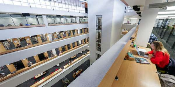 View into atrium from level 13 of the Edward Boyle Library