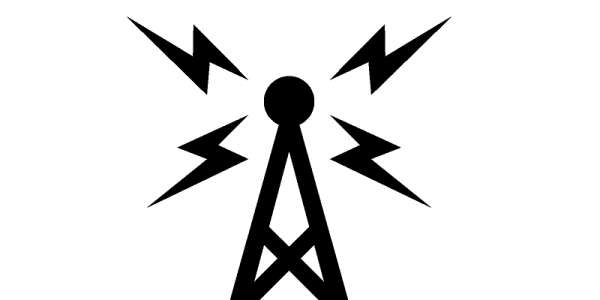 Icon of communications tower transmitting a signal