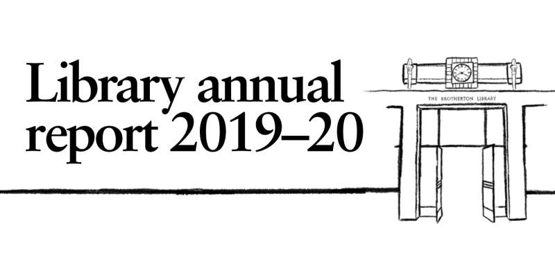 "Line drawing of Brotherton Library entrance doors with title ""Library annual report 2019-20"""