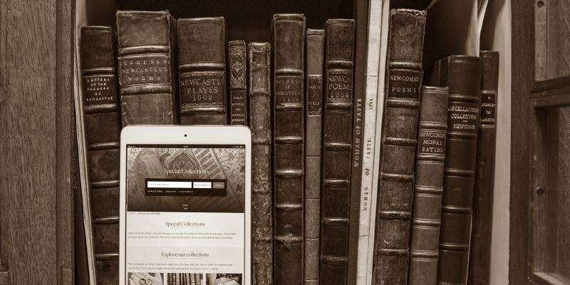An ipad with old books